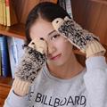 2016 Novelty Thick Winter Girls Knitted Fleece inside Warm Outdoor Gloves Woman Cartoon hedgehog Warm Cotton
