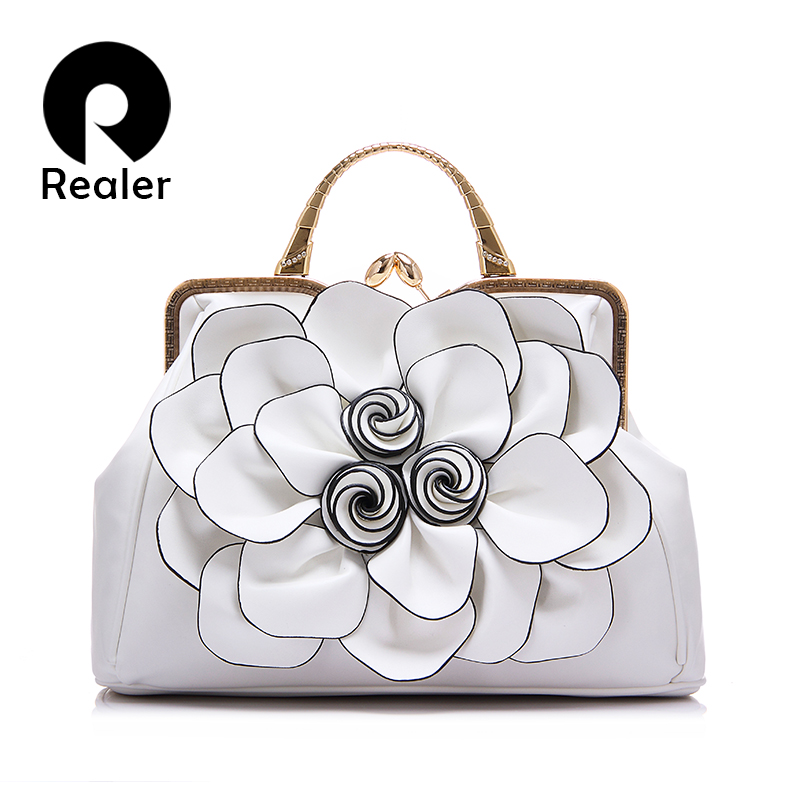 Realer brand spring new women handbag with a big 3D flower,high quality PU leather tote bag female large shoulder messenger bags(China (Mainland))