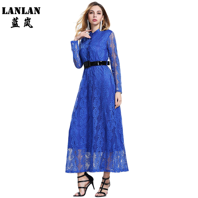 LANLAN Female Luxury Hollow out Lace Dress Sexy Leaves embroidery with Belt Spring Elegant Women Plus Size Ankle Length DressesОдежда и ак�е��уары<br><br><br>Aliexpress