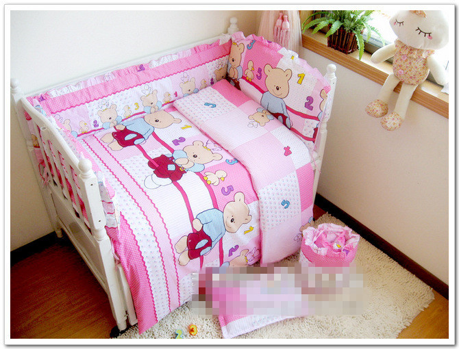 Free Shipping By EMS, Perfect Design 100% Cotton Baby Bedding Set, Baby Bedclothes, Quilt Cover +Sheet+ Bumper +Pillowcase<br><br>Aliexpress