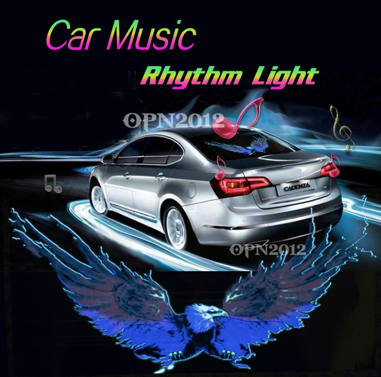 50x25cm Car Sticker Colourful EL Sound Activated Equalizer Music Rhythm LED Flash Light Lamp Decoration LED EL Sheet Light 2294(China (Mainland))
