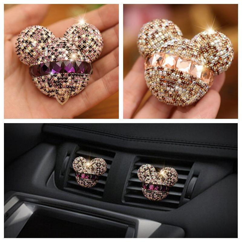 2 pcs car-styling Bling cute Air Freshener Crystal Mickey Car Perfumes Girl lady cool Air Conditioning Vent Flavoring(China (Mainland))