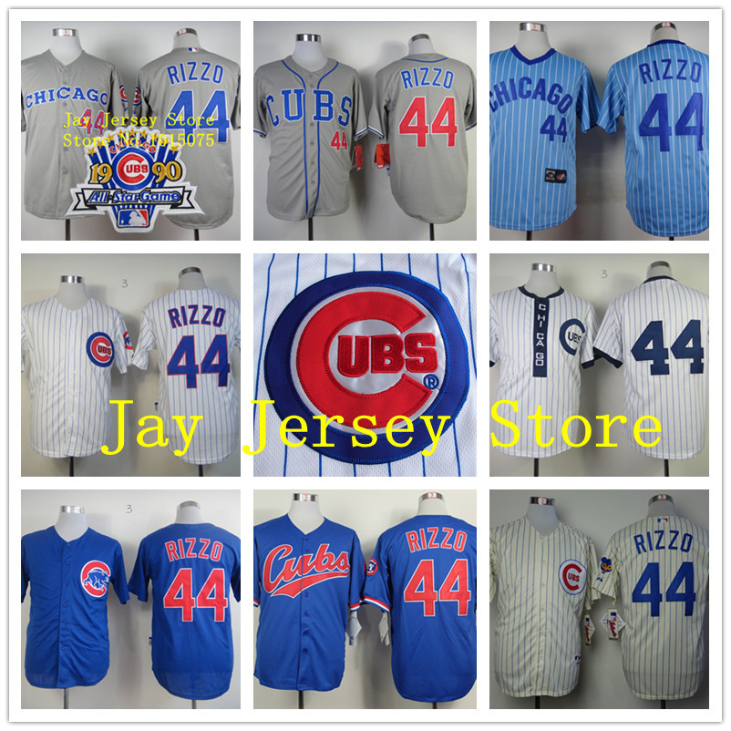 Anthony Rizzo Jersey Stitched Chicago Cubs Jersey White Blue Cream Pinstripe Retro 1994 1969 Turn Back(China (Mainland))