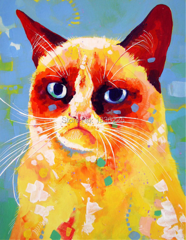 oil paintings on canvas cartoon funny animals mouse and cat modern painting colorful for Living Room kids room wall decor(China (Mainland))