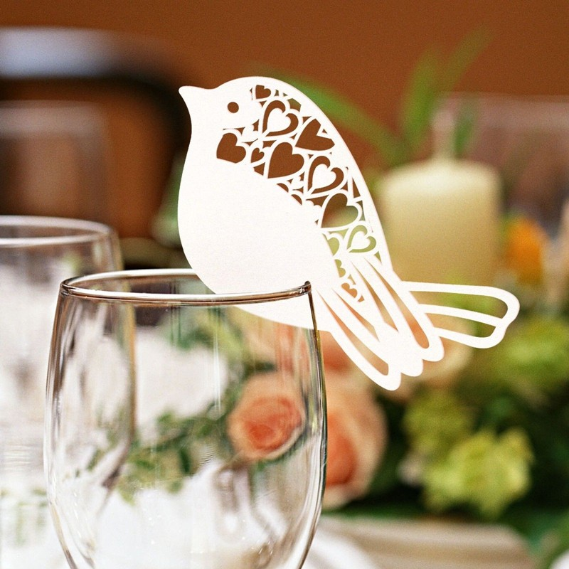 50Pcs/lot Bird Shape Wine Glass Place Cards Table Mark Name Paper Laser Cut Cards For Wedding Party Decoration(China (Mainland))