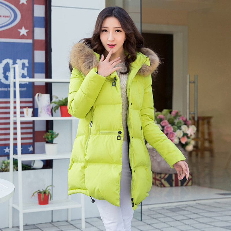 2015 new style Slim Down Girls big yards long section of thick winter new Korean version of the  Nagymaros collar winter coat