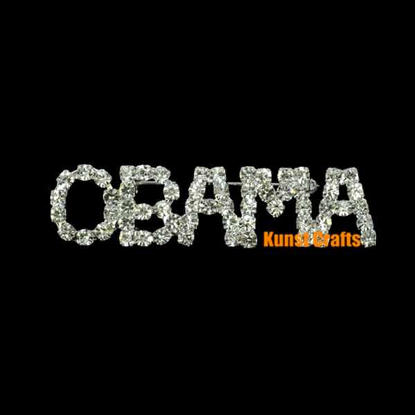 Patriotic Pins OBAMA Pageant Gifts Rhinestones Brooch Kunst Crafts Ornaments(China (Mainland))