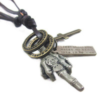 Fashion leather jewelry gray Palm men necklace pendant fashion women charm necklace jewelry party wedding necklace free NX-129