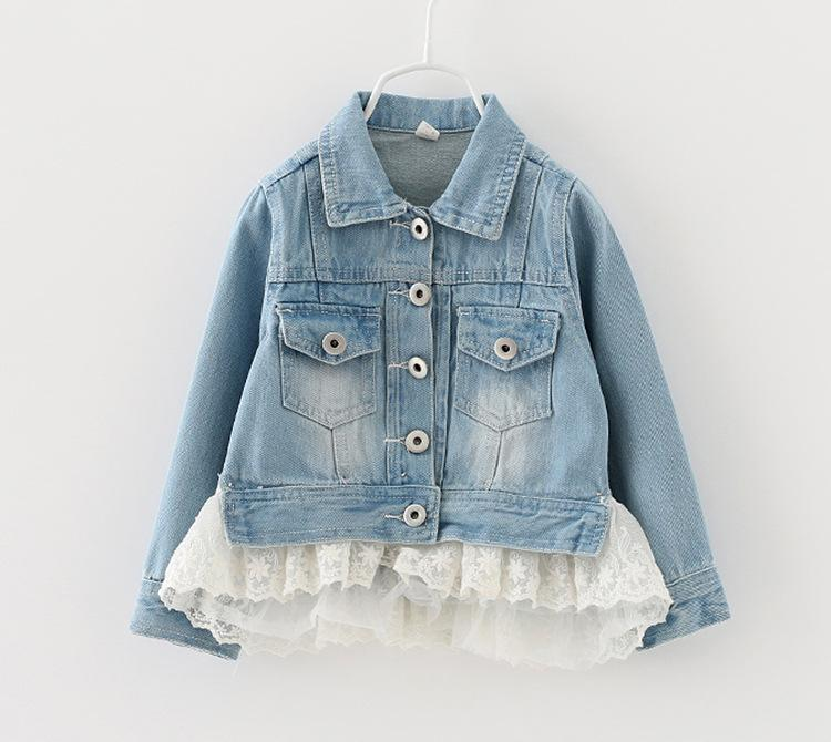 Babies Girls Vintage Denim Washing Lace Frilled Jackets Outwears Pockets and Zipper Design Casual Fall Winter Outwear Coats<br><br>Aliexpress
