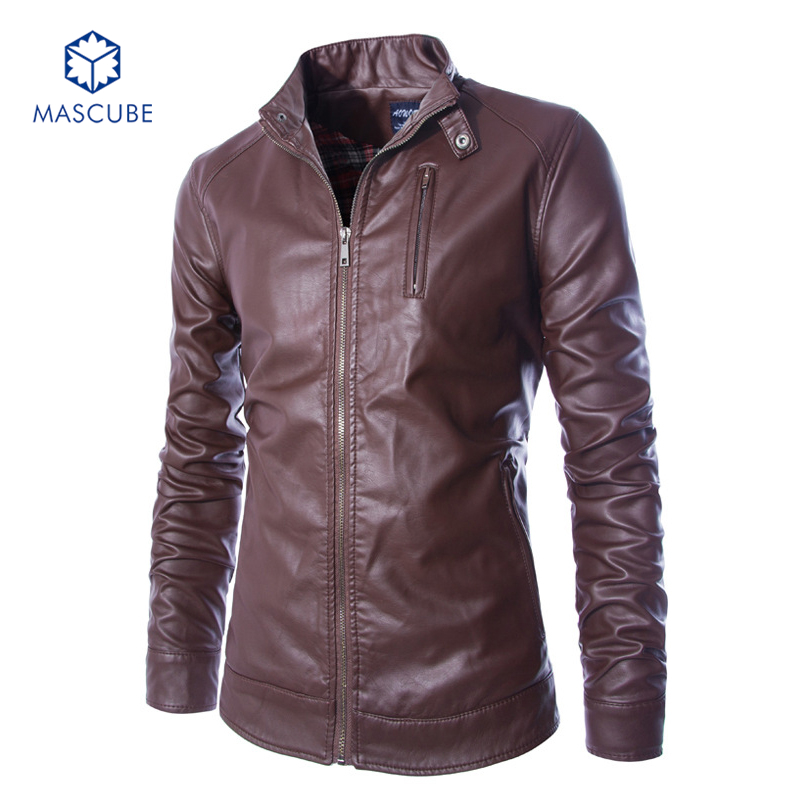 Men's Clothing Slim Casual Leather Jacket Men Water Wash Motorcycle PU Leather Jackets cuero Stand Collar Outerwear Male Coats(China (Mainland))
