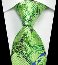 NT0347 Green Blue Paisley New Man s Jacquard Woven Silk Polyester Tie Classic Business Party Wedding