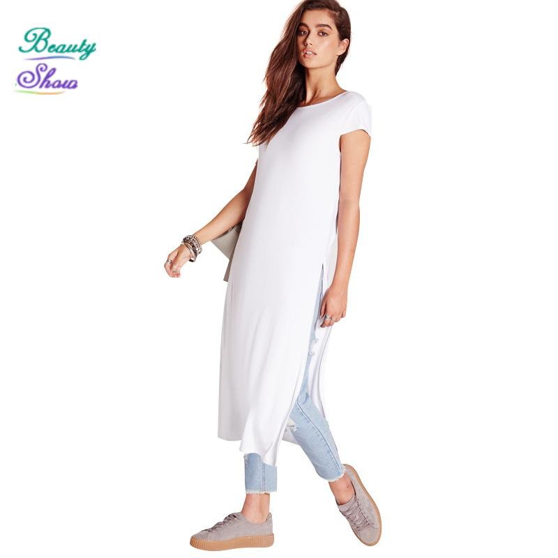 New 2016 Summer Dress Casual Fashion Style Solid White Split Long Women Beach Active O Crew Neck Straight Vestidos Loose Dresses(China (Mainland))