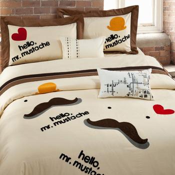 Современный текстиль для дома постельные принадлежности комплект вышивка здравствуйте , мистер усы 4 шт комплект 100% хлопок кровать лист / крышка king / queen