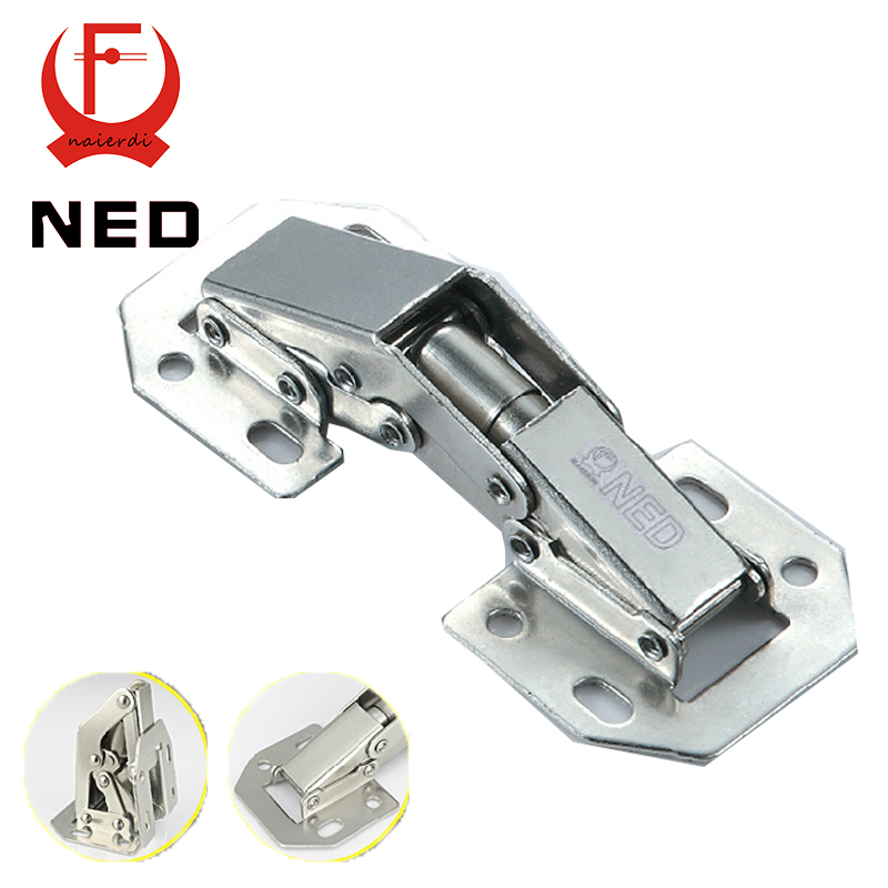 2PCS NED-A100 4 Inch 90 Degree No-Drilling Hole Cabinet Hinge Bridge Shaped Spring Frog Hinge Full Overlay Cupboard Door Hinges(China (Mainland))