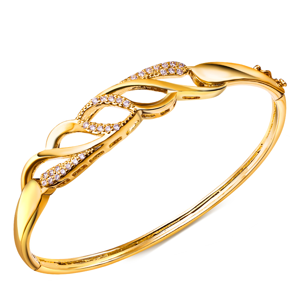Europe America Party Dresses Vintage Bangle Cubic Zircon Women Fashion Statement Jewelry bracelet women gold Plating - Flowers rong's store