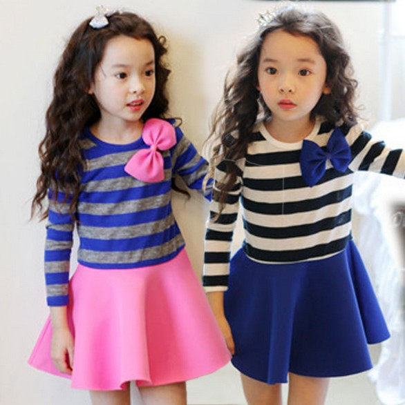 Kids Dresses 2015 Korean Spring New Long Sleeve Little Girls Dress Pure Cotton Stripe Bowknot Children Princess Wear TR126 - Baby Kid Monopoly Shop store