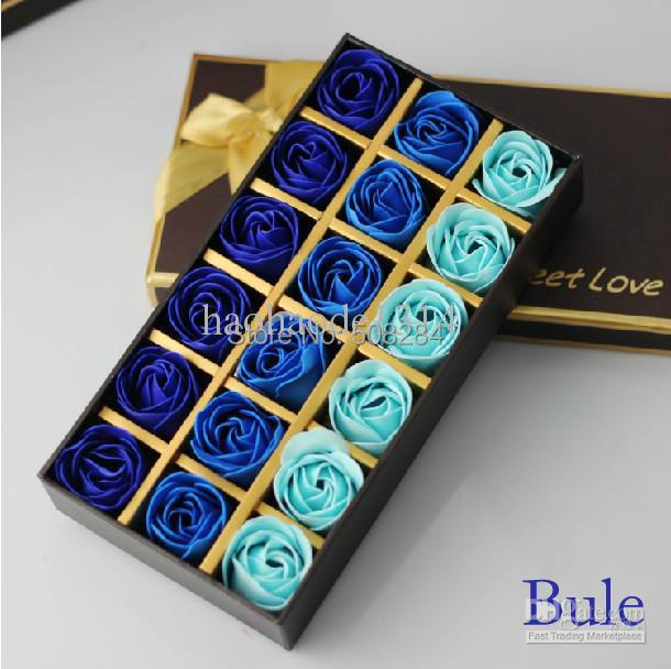 Wholesale - 18pcs/pack Blue,Red,Pink,PurpleToilet Soap Roses Birthday Gifts Wedding gifts Wedding Favor Free Shipping(China (Mainland))