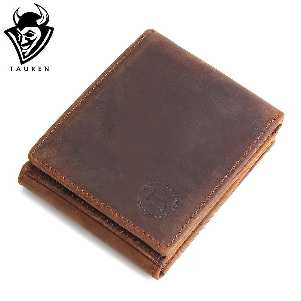 TAUREN Men's Crazy Horse Leather Wallet Genuine Leather Wallet Cowhide Wallet Coin Pocket Card Holders Short Purse Zip