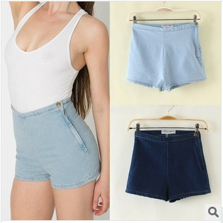 2014 new Summer European Americanwomen AA side zipper high waist washed denim shorts jeans Vintage - women-fashion store