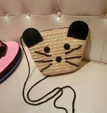 women bags,New Little Mouse super cute mini straw bag diagonal packet female bag phone key change, free postage