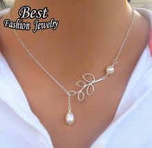 Special Leaves Pearl Short Clavicle Chain For Women Popular Silver Chain Necklace For Banquet Brilliang Jewelry(China (Mainland))