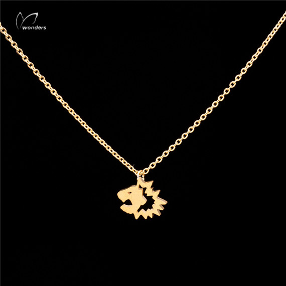 30pcs/lot-2015 Gold/Silver Minimalist Jewelry Fashion PVD Stainless Steel Tiny Lion Face Chain Necklace for Women<br><br>Aliexpress