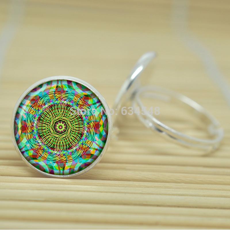 10pcs Neon Mandala jewelry glass Cabochon Adjustable Rings D2487(China (Mainland))
