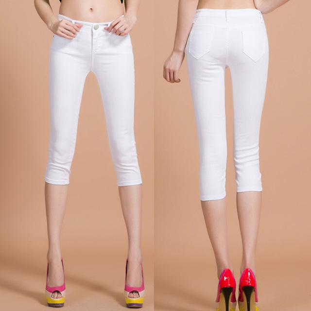 2016 Новых Корейских джинсы обрезанные брюки хлопок моды женщин strench тонкий брюки ...