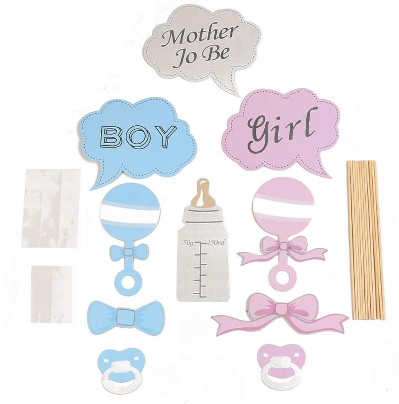 10 pcs baby shower party props baby bottle cardboard photo booth props