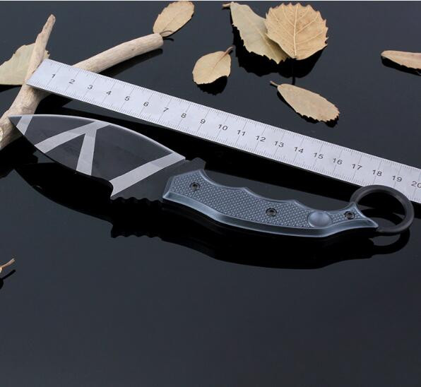 Buy Free shipping Outdoor fixed Blade Straight Handmade forged Damascus Steel hunting knife fixed blade knife ebony handle with case cheap