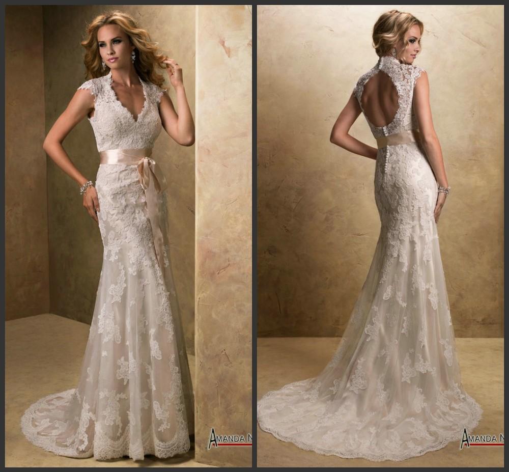 Image gallery lace designers for Backless wedding dresses designer