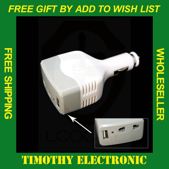 Hot! DC 12V 220V Auto Car Power Converter Inverter Adapter Charger USB Charge 1 #SJ007 - ShenZhen MANNA HOME store