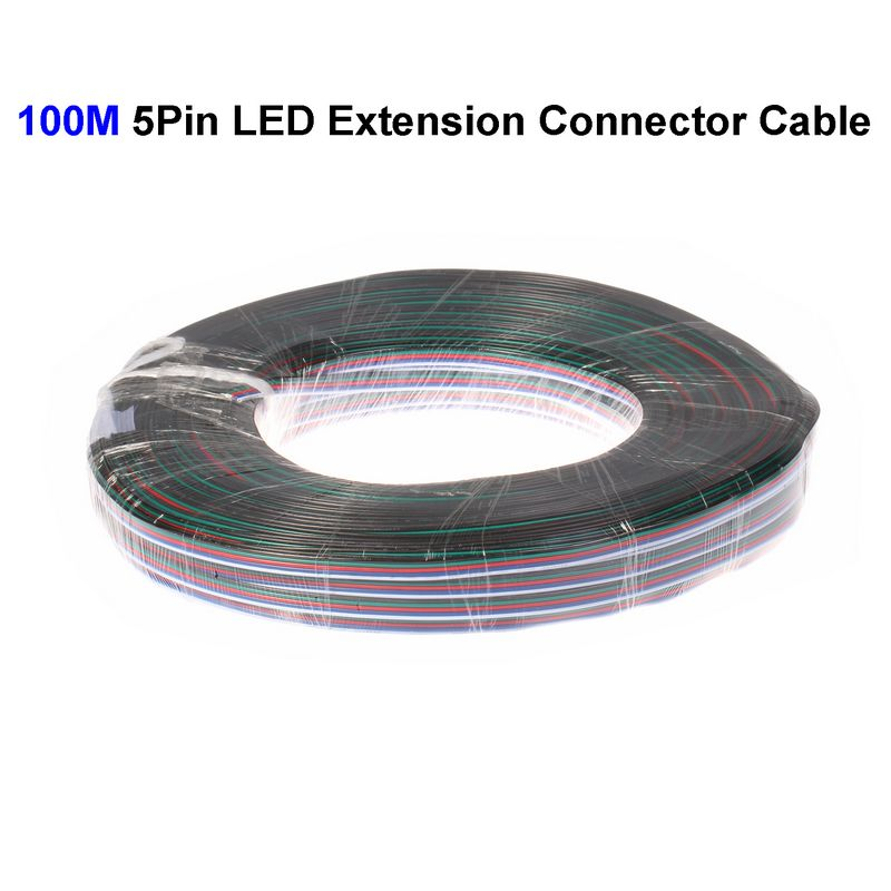 ( 3 roll/lot ) 100M 22AWG 5 Pin RGBW LED Extension Connector Wire Cord For LED Lighting Connector Cable<br><br>Aliexpress