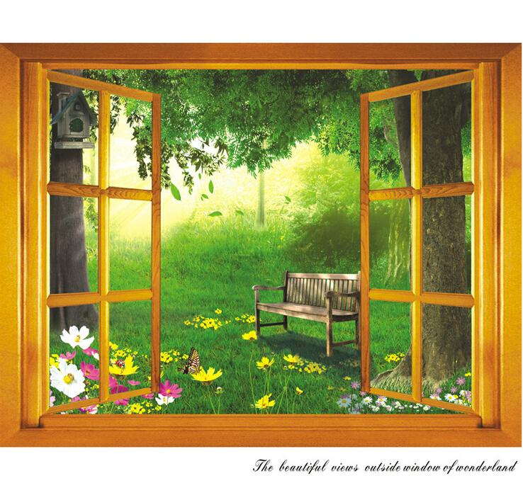 Free Shipping Removable 3D DIY Wall Decal Home Decoration Livingroom Stickers Vinyl Window Garden Scene Adesivo de Parede(China (Mainland))