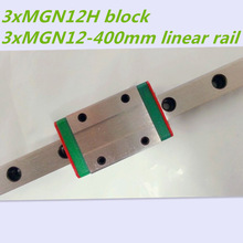 Kossel Mini MGN12 12mm miniature linear rail slide = 3pcs 12mm L-400mm rail+3pcs MGN12H carriage for X Y Z axis
