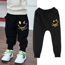 Vovotrade New Kids Autumn Winter Pocket Pants Casual Smiling Faces Harem Pants Trousers 3-10Y(China (Mainland))