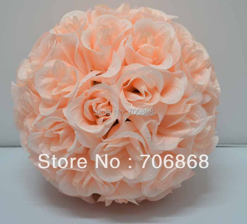 25cm(10inches)*12 pcs Rose kissing ball artificial silk flower wedding decoration 1A(China (Mainland))