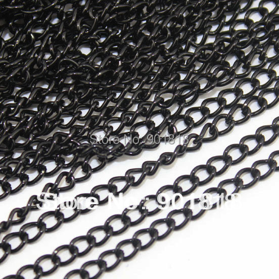Free shipping 10meter/lot wholesale black necklace chains bulk,iron jewelry chain lots<br><br>Aliexpress
