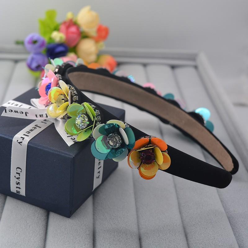 2016 летняя мода ShanZuan цветок невесты аксессуары Для Волос ретро стиле барокко раскрашенная блестками цветок горный хрусталь hairband оптовая