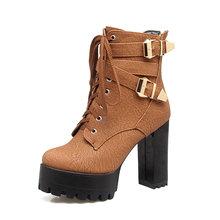 WETKISS 2019 Siêu Size Lớn 33-48 Xe Máy Nữ Mắt Cá Chân của Giày Khóa Dây Dày Giày Cao Gót Giày Đế người phụ nữ Mùa Đông Giày(China)