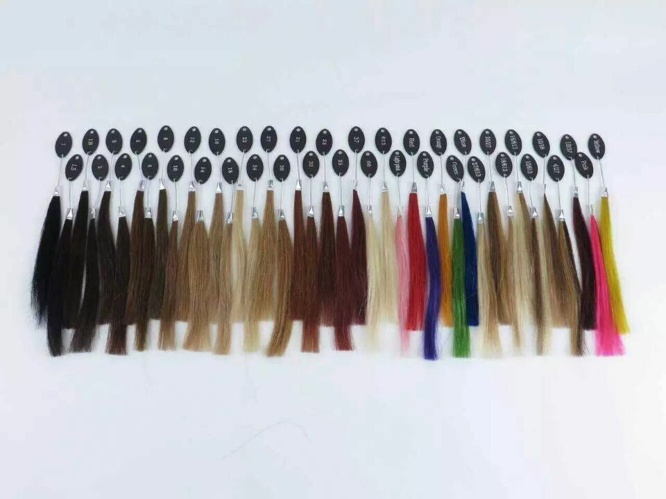 40 colors human hair color ring for all kinds of hair extensions color chart for tape, tip hair extensions