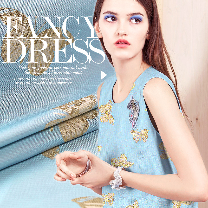 French three-dimensional jacquard brocade fashion fabric butterfly gold wire and crisp fabrics free shipping(China (Mainland))