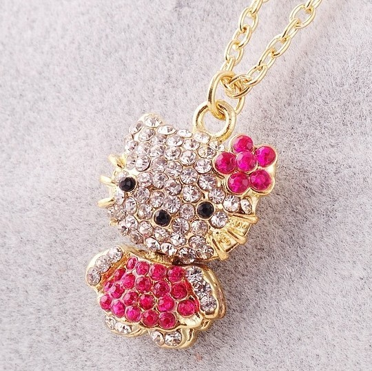 cute design for women chunky pendant necklace wholesale hello kitty necklace cheap in pink bow jewelry gift N58(China (Mainland))