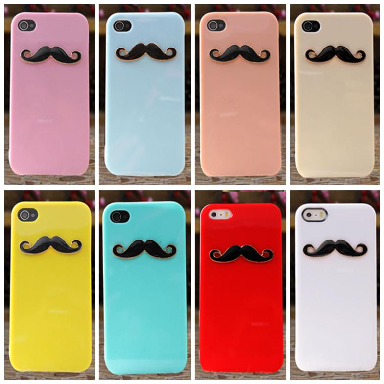 10 Pcs/ Lot Handmade color shell Beard case for Phone 4 4s case for Phone 5 5s Mobile Border Protection 10 color Wholesale(China (Mainland))