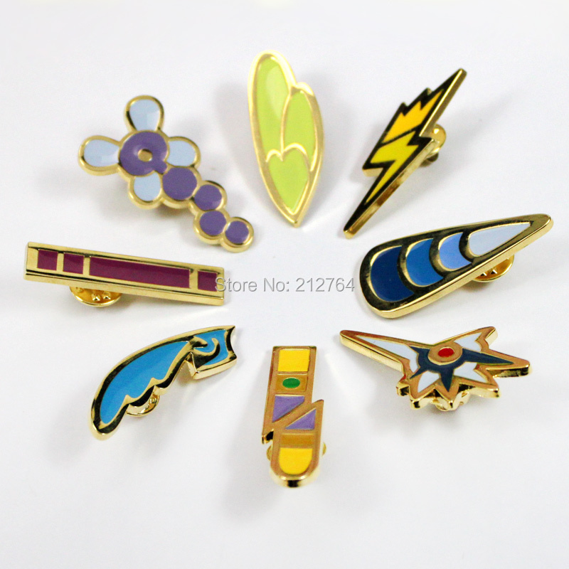 Anime Pokemon Gym Badges Gen 5 Unova League Badges Pins Metal badge Classic toy Cartoon Pokemon badge Gold 100pcs Mixable styles<br><br>Aliexpress