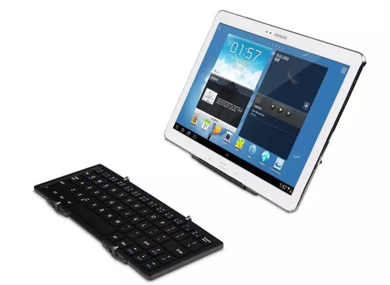 2015 Rechargeable Wireless Keyboard For ipad mini keyboard Can be folded three times teclado For IOS/Android/windows/Symbi(China (Mainland))