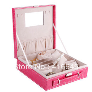 Free shipping Birthday princess fashion wedding gift jewelry box earrings necklaces automatic leather jewelry box gift box<br><br>Aliexpress