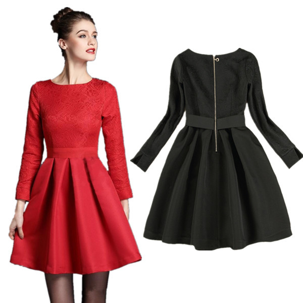 High 2016 New Spring Dress European Style Women's Dress Bride Red Clothing Long Sleeve Black Party Clothes QT036