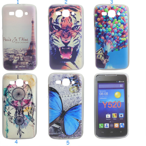 Colored Tiger Eiffel Tower Dream Catcher Design Ascend Y520 Soft TPU GEL Phone Case Cover for Huawei Ascend Y520(China (Mainland))
