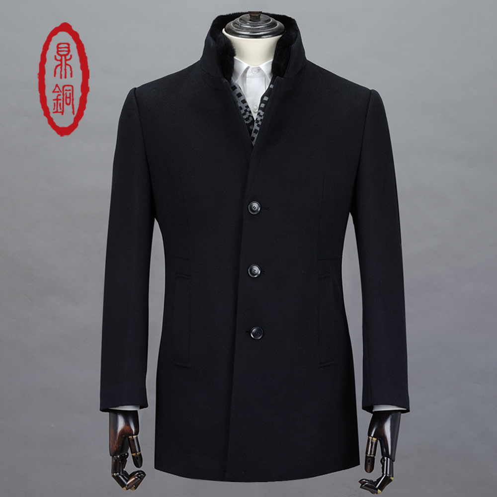 DINGTONG High Quality Wool Cashmere Trench with Fur Collar for Men Stylish Slim Fit Overcoat Middle Long Winter Warm Lined Coats(China (Mainland))